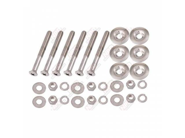 MOUNTING KIT, BED WOOD TO FRAME, POLISHED STAINLESS