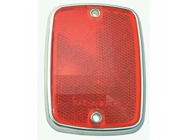REFLECTOR ASSY, BODY, RED, RECTANGULAR, ORIGINAL FORD TOOLING
