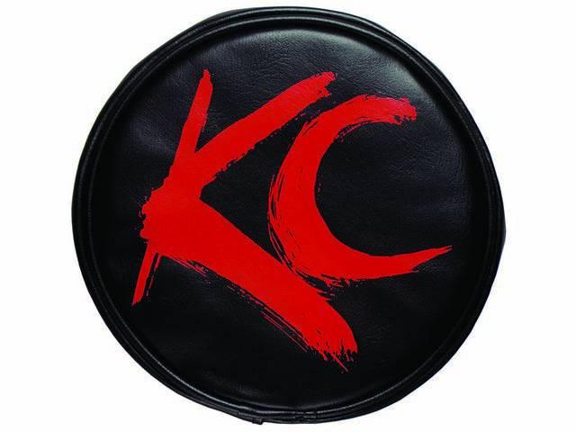 """COVER, KC HILITER, SOFT VINYL, 6"""" ROUND, RED KC BRUSH ON BLACK"""