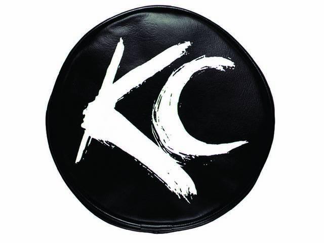"""COVER, KC HILITER, SOFT VINYL, 6"""" ROUND, WHITE KC BRUSH ON BLACK"""