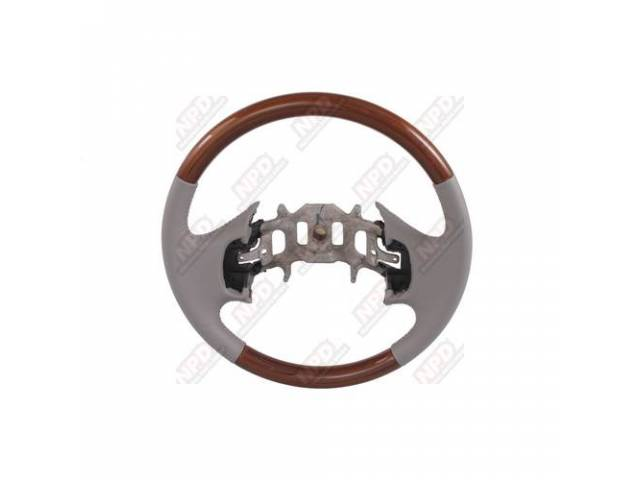 STEERING WHEEL REAL WOOD TRIMMED W/ LEATHER GRAY