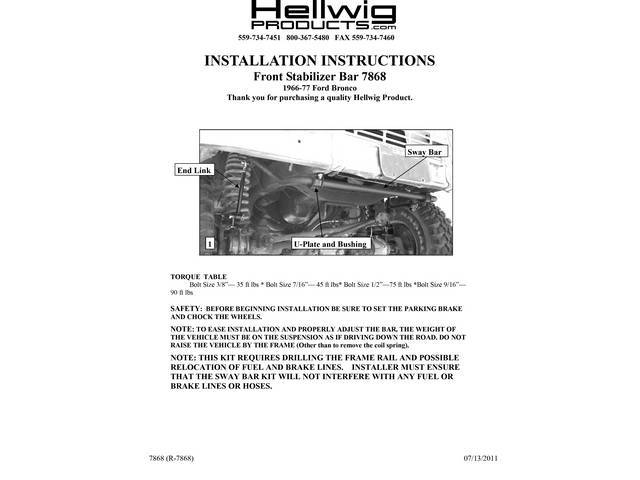 SWAY BAR, Front, Hellwig, Off Road style, 1