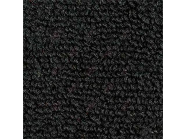 CARPET, RAYLON WEAVE, CUT AND SEWN, BLACK, BOUND