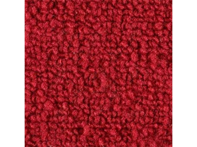 CARPET, RAYLON WEAVE, CUT AND SEWN, RED