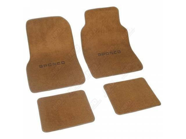 CARPET FLOOR MAT SET, CUT PILE, *BRONCO* LOGO,