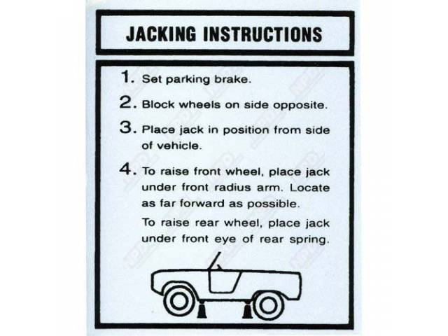 DECAL, INTERIOR, JACK INSTRUCTIONS