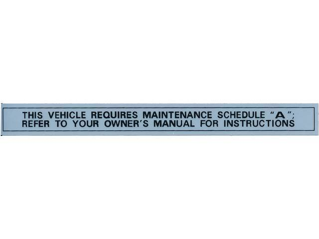 DECAL, Maintenance Schedule, repro, silver and black