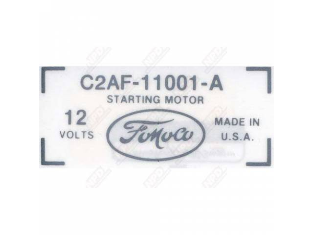 DECAL, ENGINE COMPARTMENT, *** GOTO D-80 ***, STARTER