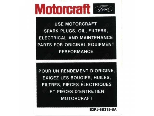 DECAL ENGINE COMPARTMENT MOTORCRAFT PARTS VERTICAL