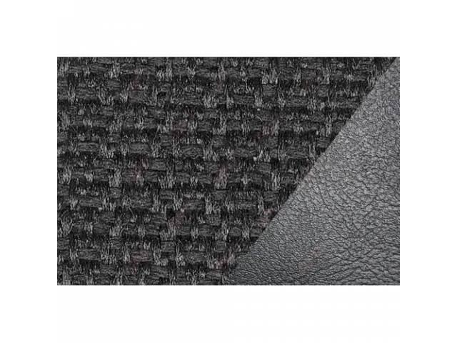 UPHOLSTERY SET, STANDARD BENCH, BLACK VINYL W/ CLOTH,