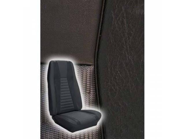 UPHOLSTERY, FRONT BUCKET, MACH 1, BLACK W/ BLACK