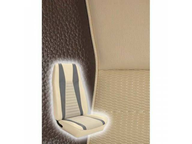 UPHOLSTERY, FRONT BUCKET, MACH 1, WHITE W/ GRAY