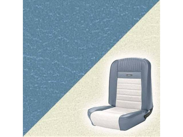 UPHOLSTERY, FRONT BUCKET, DELUXE, LIGHT BLUE W/ OFF-WHITE