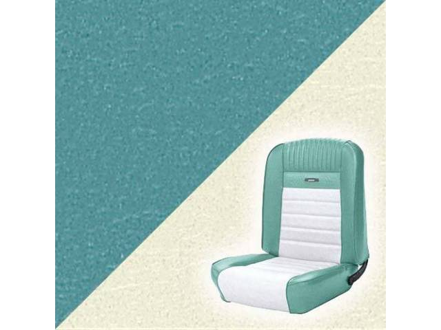 UPHOLSTERY FRONT BUCKET DELUXE AQUA W/ WHITE