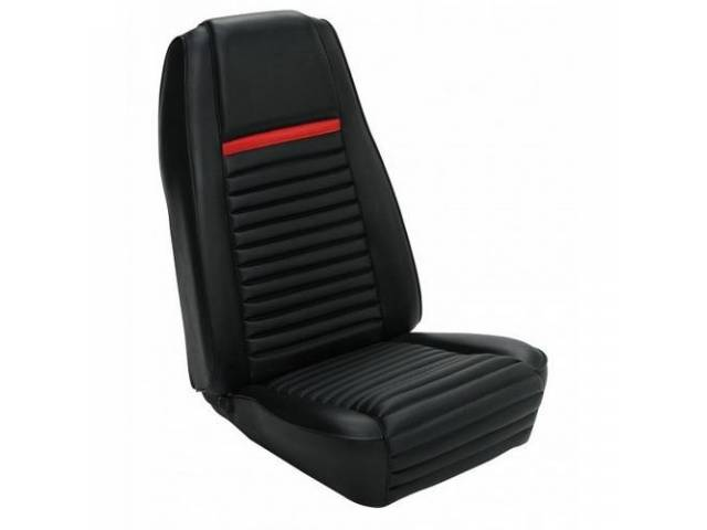 UPHOLSTERY, FRONT BUCKET, MACH 1, BLACK W/ RED