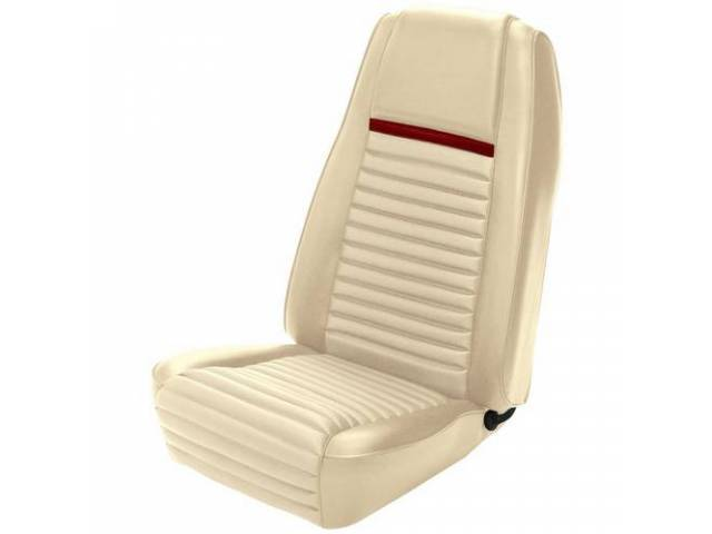 UPHOLSTERY, FRONT BUCKET, MACH 1, WHITE W/ RED