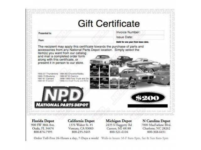 GIFT CERTIFICATE, $200