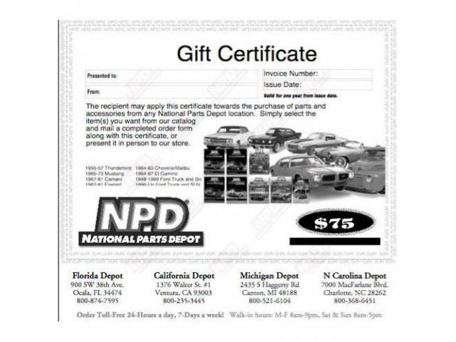 GIFT CERTIFICATE, $75