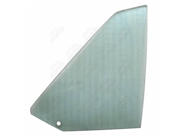Glass, Quarter Window, Tinted, Rh, Incl Correct Mopar Pentastar Logo, No Date Codes, Repro