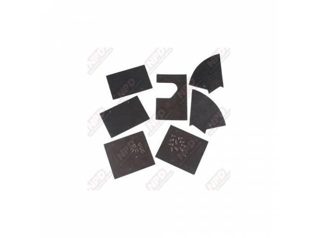 Splash Shield Kit, Frame Rail, Rubber Die Cut,