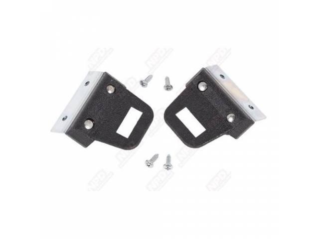 Retaining Clip, Front Seat Belt, Black, Pair, Repro,