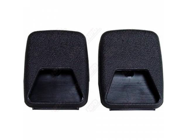 Mounting Covers Front Seat Belt Black Plastic Pair