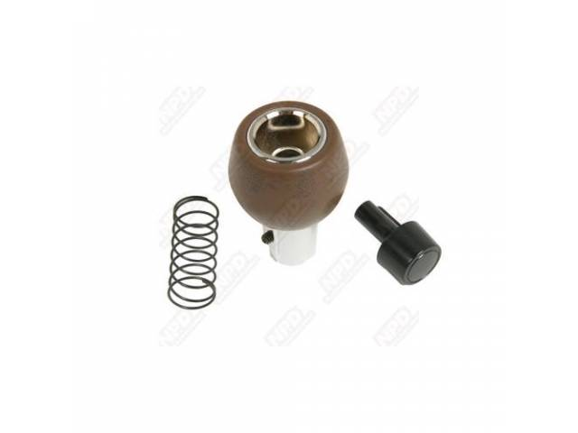 Knob, Shifter, Woodgrain, Incl Black Push Button And