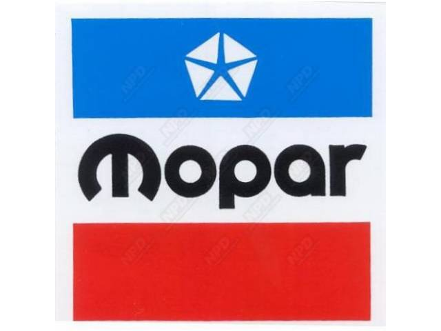 Decal, 6 1/2 Inch Square Mopar, Correct Material And Screen Printed As Original, Officially Licensed Product By Chrysler Llc