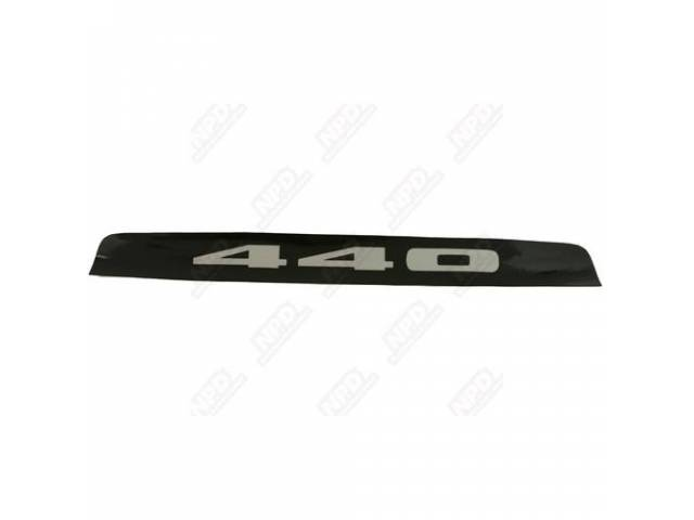 Decal, 440 Hood Insert, Black, Correct Material And