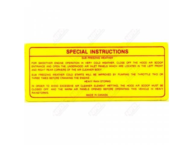 Decal, Six Pack Air Cleaner Special Instructions, Correct