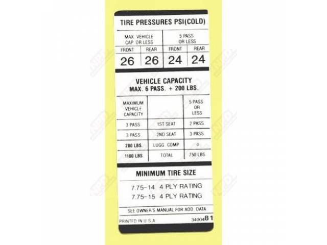 Decal, Tire Pressure,  Correct Material And Screen