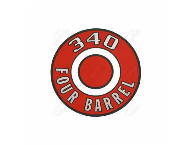 Decal 340 Four Barrel Red Air Cleaner Correct