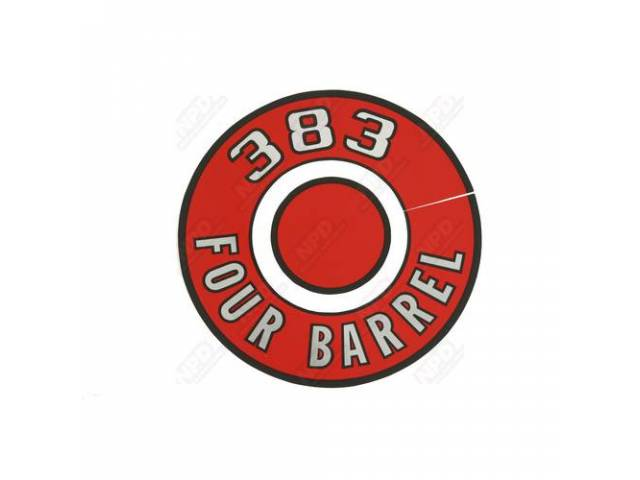 Decal, 383 Four Barrel, Red, Air Cleaner Correct
