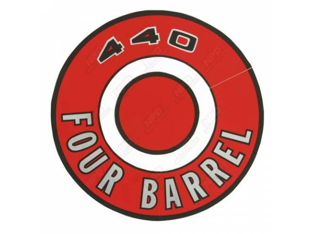 Decal, 440 Four Barrel, Red, Air Cleaner Correct