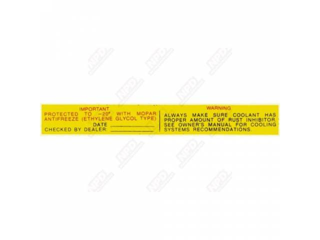 Decal Mopar Antifreeze Warning Correct Material And Screen