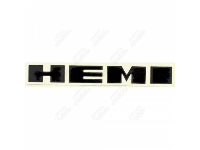 Decal, Hemi, Fender (Black), Correct Material And Screen