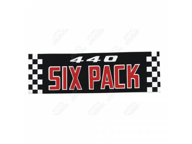 DECAL 440 SIX PACK AIR CLEANER CORRECT MATERIAL