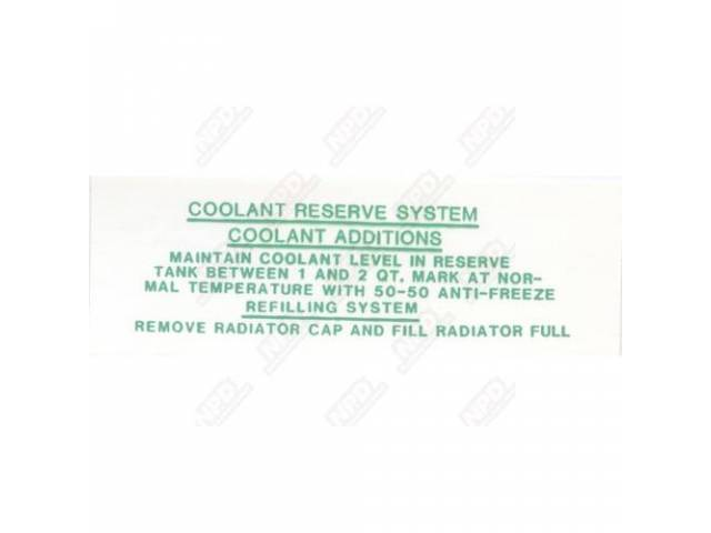 Decal, Coolant Reserve Tank, 5 1/2 Inch, Correct