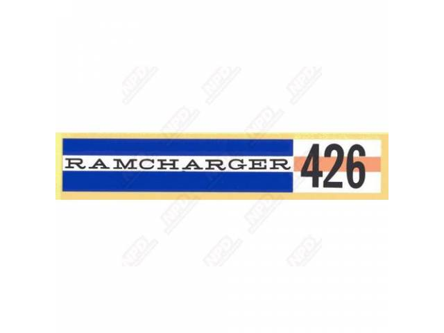 Decal Ramcharger 426 Valve Cover Decal Correct Material