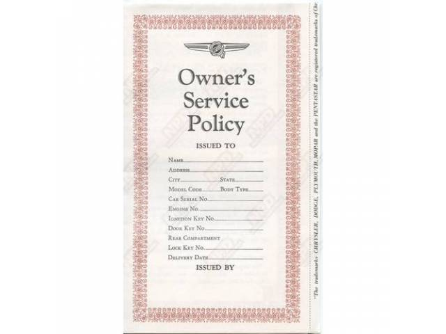 Booklet, New Owner Service Policy, Correct Material And