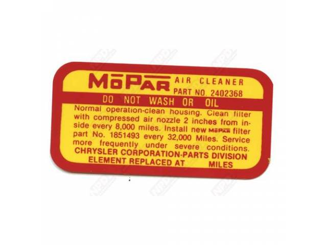 Decal Air Cleaner Service Instruction Correct Material And