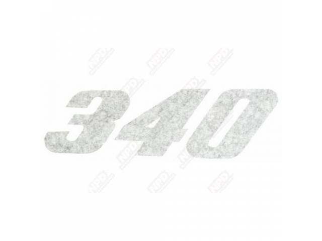 Decal, 340, Black,  Rh Quarter Panel, Correct