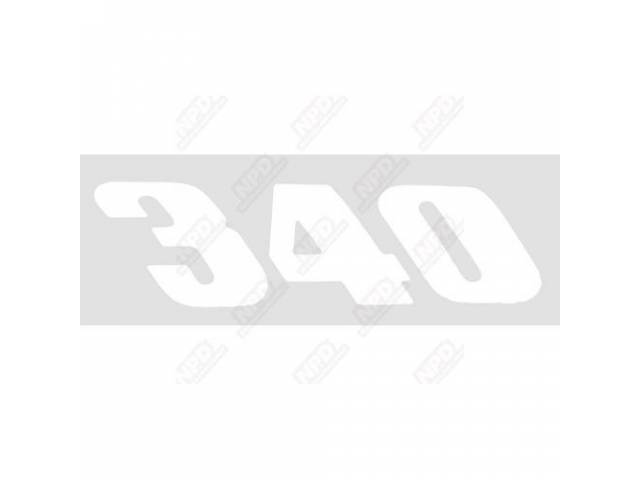 Decal, 340, White, Lh Quarter Panel, Correct Material