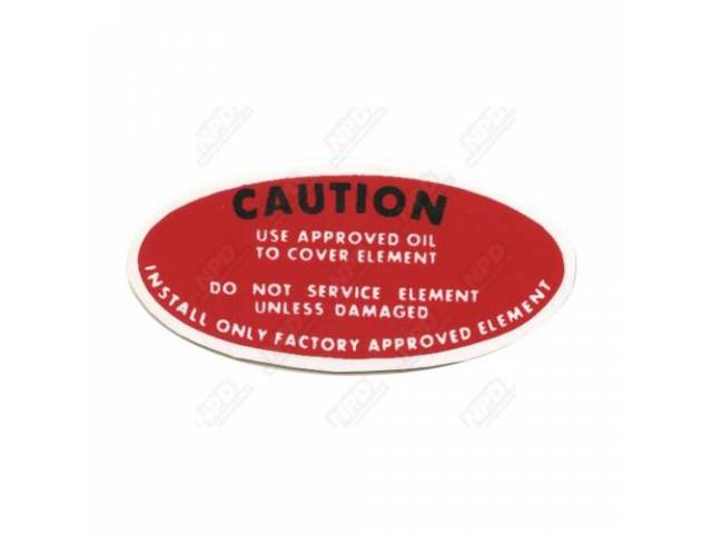 Decal Power Steering Caution Pump