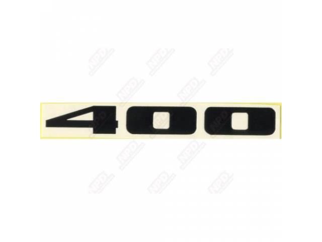 Decal 400 Hood Scoop Insert Black W/ White