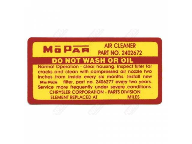 Decal Air Cleaner Service Instructions Correct Material And