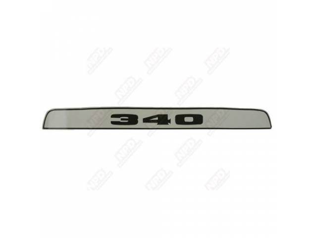 Decal 340 Hood Scoop Insert Black W/ White