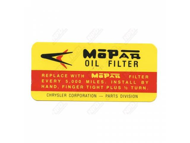 Decal, Oil Filter Canister, Correct Material And Screen