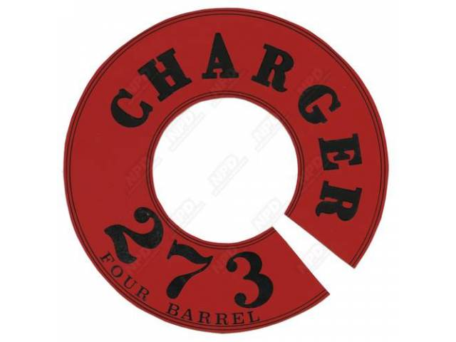 Decal Charger 273-4v Air Cleaner Correct Material And