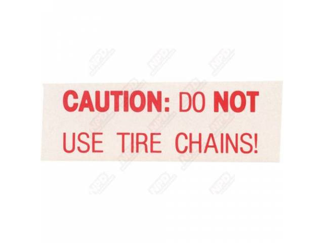 Decal Snow Chain Caution For Space Saver Spare